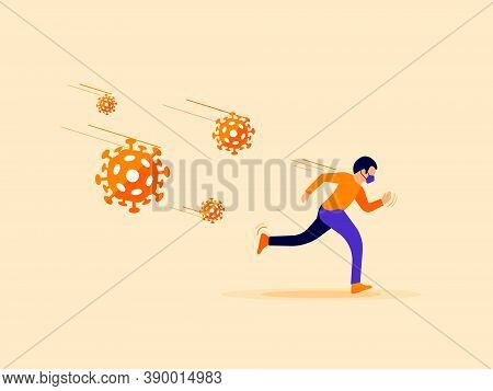 Man With Face Mask Running Away From Covid, Coronavirus, Financial Recession, Climate Change To The