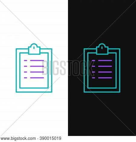 Line Clipboard With Checklist Icon Isolated On White And Black Background. Control List Symbol. Surv