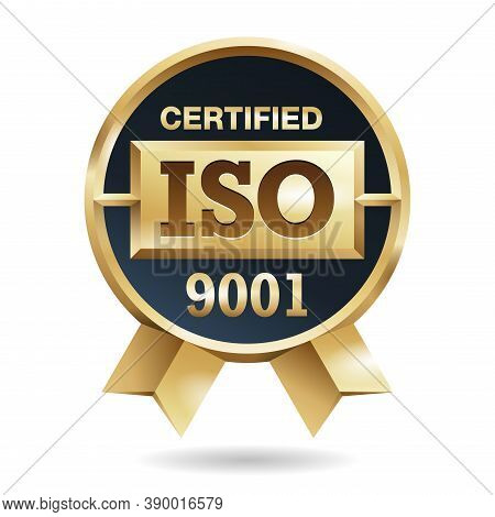 Iso 9001 Golden Medal Award For Conformity To Standards Stamp -  With International Quality Manageme
