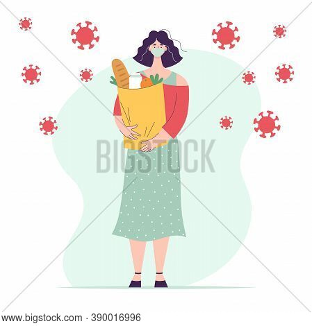 Woman In Medical Mask With Paper Bag Full Of Groceries.full Length Character.concept Shopping For Gr