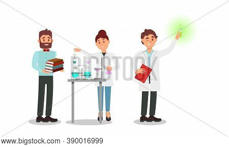 People Characters Scientist In White Gown Holding Flask With Liquid Vector Illustration Set