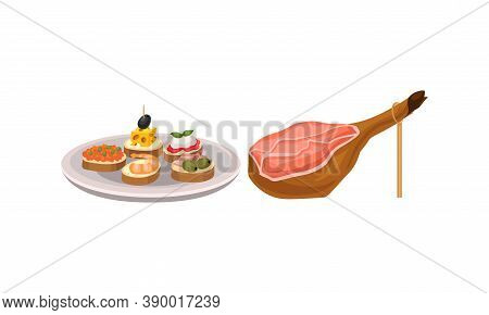 Jamon Or Dry-cured Bacon Gammon And Finger Food On Plate As Spanish Cuisine Gourmet Vector Set
