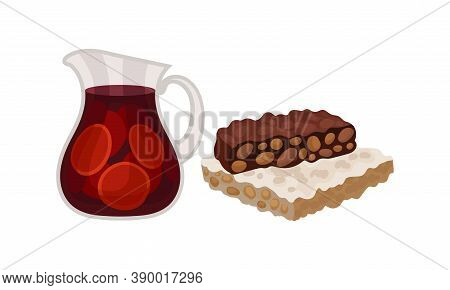 Sangria Drink From Red Wine With Fruit And Turron Dessert As Spanish Cuisine Vector Set