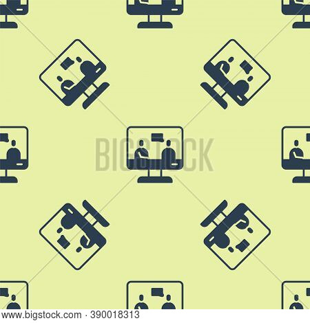 Blue Online Education And Graduation Icon Isolated Seamless Pattern On Yellow Background. Online Tea