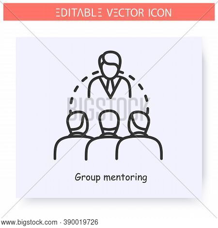 Group Mentoring Line Icon.mentor With A Training Group.training Course, Workshop.guidance Consulting