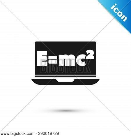 Grey Math System Of Equation Solution On Laptop Icon Isolated On White Background. E Equals Mc Squar