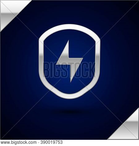 Silver Secure Shield With Lightning Icon Isolated On Dark Blue Background. Security, Safety, Protect