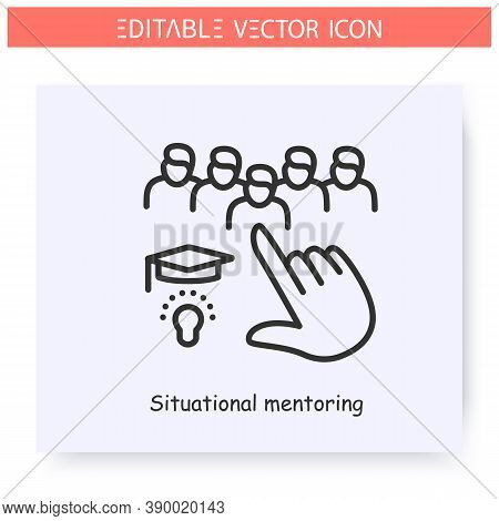 Situational Mentoring Line Icon.educational Performance. Objective Mentoring. Guidance Consulting In