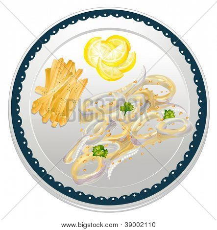 illustration of cala frei in a dish on a white background poster