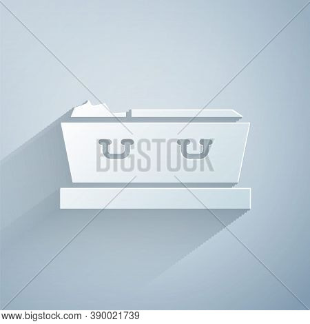 Paper Cut Open Coffin With Dead Deceased Body Icon Isolated On Grey Background. Funeral After Death.
