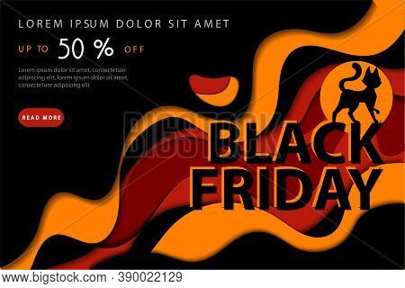 Black Friday Super Mega Sale, Up To 50 Off Concept. Abstract Composition With Black Cat On Colorful
