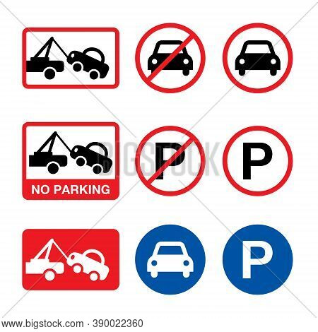 No Parking Vector Sign, Parking Forbidden Design Set