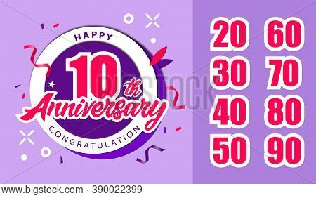 Anniversary Celebration Concept. Happy Tenth Anniversary Congratulation Banner, Logo Decorated With