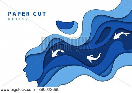 Paper Cut Design Concept. Woman S Head Silhouette With Long Blue Wavy Hair And Swimming Fishes. Tren