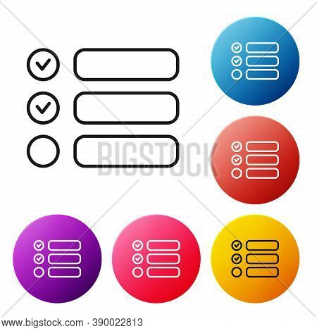 Black Line Task List Icon Isolated On White Background. Control List Symbol. Survey Poll Or Question