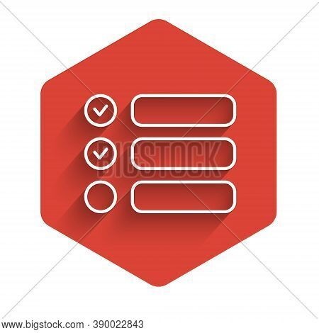 White Line Task List Icon Isolated With Long Shadow. Control List Symbol. Survey Poll Or Questionnai