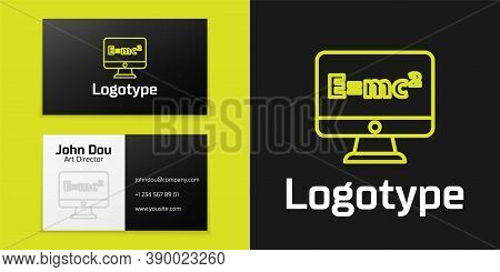 Logotype Line Math System Of Equation Solution On Computer Monitor Icon Isolated On Black Background