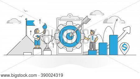Business Goals With Company Profit Success Target Monocolor Outline Concept. Businessman Precise Aim
