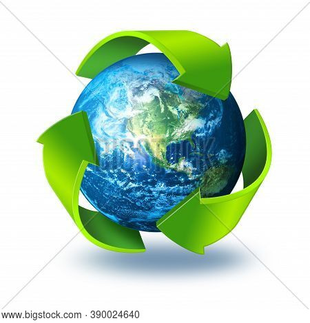 Green Arrows Symbol Around Blue Planet Earth, Recycling Concept 3d, Isolated On White Background