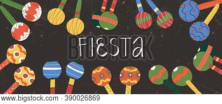 Dia De Los Muertos Fiesta Invitation Design, Banner With Hand Lettering With Cute Various Maracas On
