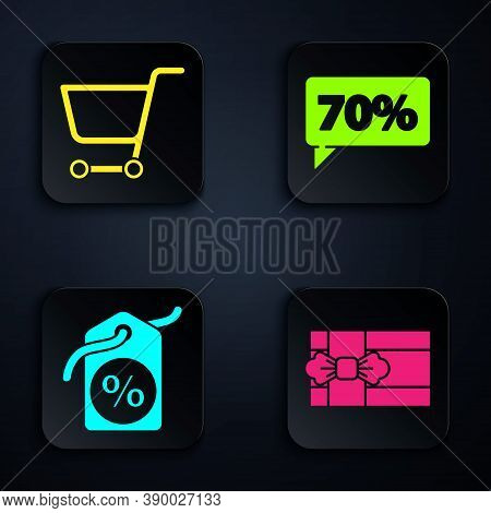 Set Gift Box, Shopping Cart, Discount Percent Tag And Seventy Discount Percent Tag. Black Square But