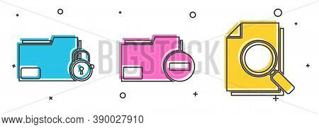 Set Folder And Lock, Document Folder With Minus And Document With Search Icon. Vector