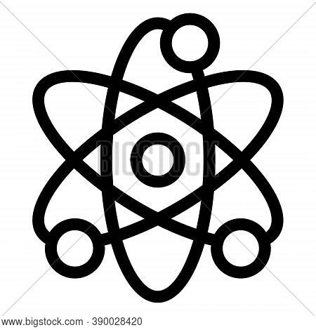 Atom Icon. Physics Atom Model. Nucleus, Proton, Electron Illustration. Nanotechnology Symbol.