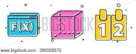 Set Function Mathematical Symbol, Geometric Figure Cube And Calendar Icon. Vector