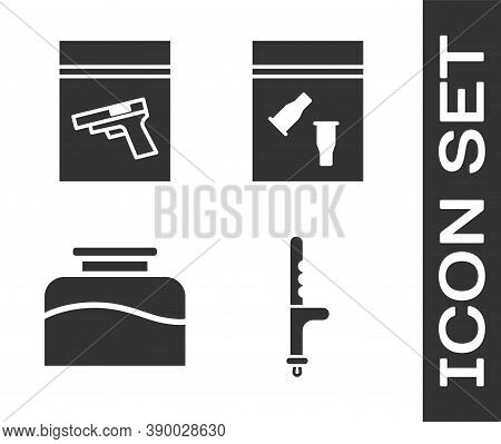 Set Police Rubber Baton, Evidence Bag And Pistol Or Gun, Inkwell And Evidence Bag And Bullet Icon. V