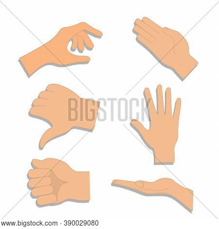 Set Of Hands In Different Gestures , Hand Showing Signal Or Sign Collection. Vector Hands Showing An