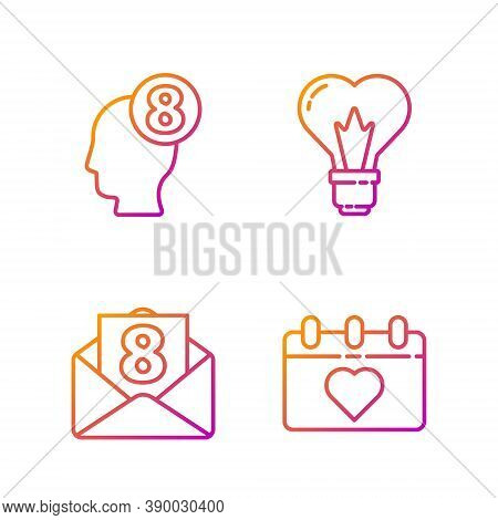 Set Line Calendar With 8 March, Envelope With 8 March, 8 March In Human Head And Heart Shape In A Li