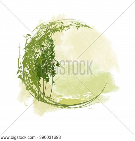 Green Bamboo Frame In The Form Of A Circle. Silhouettes Of Bamboo Trees On An Abstract Watercolor Ba