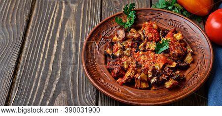 Grilled Turkish Eggplants In Tomato Sauce (soslu Patlican Or şakşuka.). A Tasty And Simple Turkish D