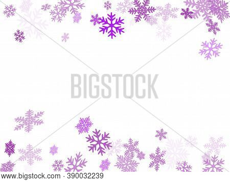 Winter Snowflakes Border Simple Vector Background.  Macro Snowflakes Flying Border Graphics, Holiday