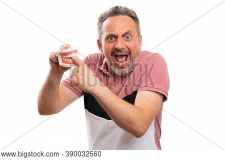 Adult Man Model Making Shocked Surprised Hurt Expression Having Index Finger Hand Bitten By Fake Tee