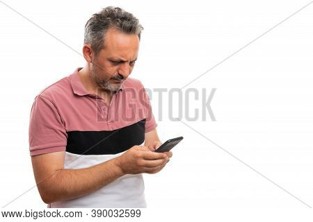 Adult Man Making Serious Thinking Expression Wearing Modern Stylish Casual Summer Attire Looking At
