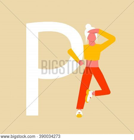 A Woman In Search Of An Answer To A Question. The Woman Is Holding On To The Capital Letter P. Flat