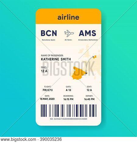 Mobile Boarding Pass. Vertical Aircraft E-ticket. Flight Ticket Template. Passenger Document Mockup.