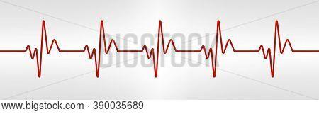 Heart Beat Line. Red Healthy Pulse Trace. Electrocardiogram Or Ecg Curve. Human Cardio Beat. Vibrati