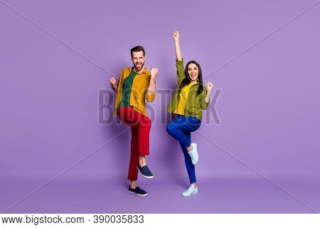 Full Length Body Size View Of His He Her She Nice Attractive Lovely Lucky Cheerful Cheery Couple Hav