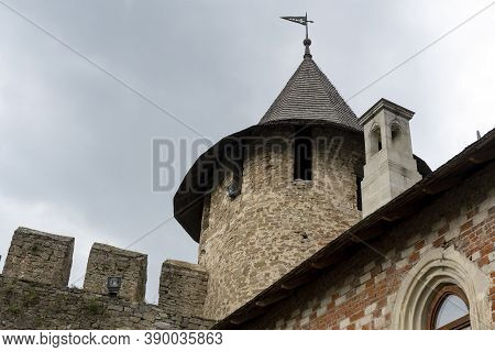 View At Tower Of Medieval Stone Castle At Khotyn, Ukraine, Famous Ukranian Touristic Place