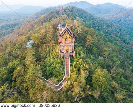 Aerial View Of Wat Phra That Doi Phra Chan One Of The Most Beautiful Buddhist Temple On The Hills In