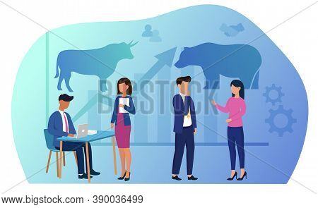 Stock Market Trading Concept. Businesspeople Brokers Or Traders Analysing Global Market And Finance