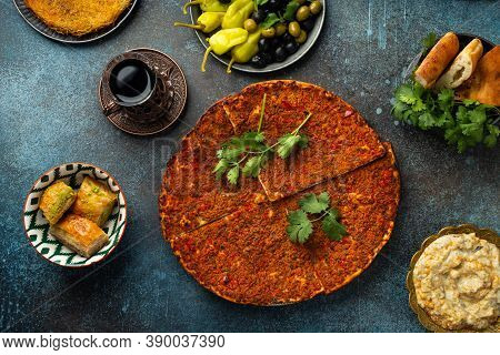 Lacmacun - Traditional Turkish Pizza Made Of Dough With Minced Meat, Vegetables And Herbs Topping. P