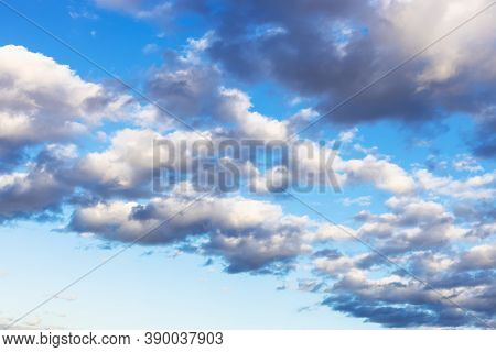 Front Of Gray And White Low Clouds In Blue Autumn Afternoon Sky