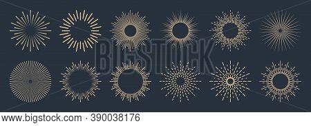 Vintage Sunburst Collection. Bursting Golden Sun Rays. Fireworks. Logotype Or Lettering Design Eleme