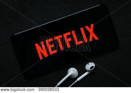 Krakow, Poland - October 07, 2020: Netflix Sign On The Smartphone Screen. Netflix Is A Famous Provid