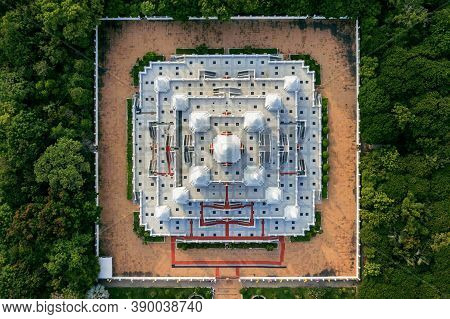 Aerial View Of Pagoda Watasokaram Temple In Thailand.