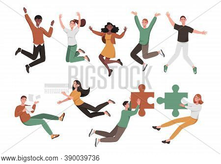 Large Set Of Diverse Active People Jumping And Leaping Or Floating With Business Accessories And Puz