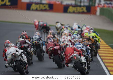 CHESTE - NOVEMBER 11: All riders during Moto2 race in GP of the Comunitat Valenciana, on November 11, 2012, in Ricardo Tormo Circuit of Cheste, Valencia, Spain